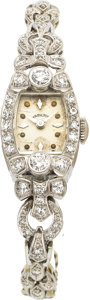 Estate Jewelry:Watches, Hamilton Lady's Diamond, Platinum, White Gold Wristwatch, circa1950. ...