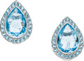 Estate Jewelry:Earrings, Blue Topaz, White Gold Earrings. ...