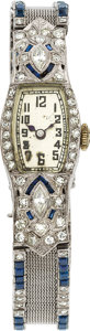 Estate Jewelry:Watches, Art Deco Swiss Lady's Diamond, Sapphire, Platinum Wristwatch. ...