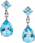 Estate Jewelry:Earrings, Blue Topaz, Sapphire, White Gold Earrings, Piranesi. ...