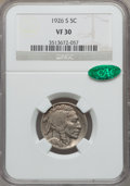 Buffalo Nickels: , 1926-S 5C VF30 NGC. CAC. NGC Census: (149/542). PCGS Population(146/695). Mintage: 970,000. Numismedia Wsl. Price for prob...