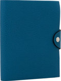 Luxury Accessories:Accessories, Hermes Blue de Galice Buffalo Leather Ulysse PM Notebook Cover withPalladium Hardware. ...