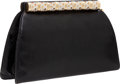 Luxury Accessories:Bags, Judith Leiber Black Lizard Clutch with Crystal Frame Closure andShoulder Strap. ...