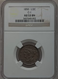 Half Cents: , 1850 1/2 C AU53 NGC. C-1. NGC Census: (9/170). PCGS Population(19/151). Mintage: 39,800. Numismedia Wsl. Price for proble...