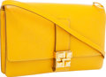 Luxury Accessories:Bags, Hermes Jaune Courchevel Leather Sac Dog Clutch Bag with GoldHardware & Shoulder Strap. ...