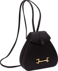 Luxury Accessories:Bags, Gucci Black Satin Evening Backpack Bag with Gold Horsebit &Crystal Detail. ...