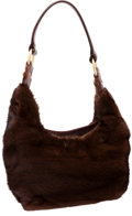 Luxury Accessories:Bags, J Mendel Ranch Mink & Brown Napa Leather Hobo Bag. ...