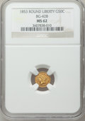 California Fractional Gold: , 1853 50C Liberty Round 50 Cents, BG-428, R.3, MS62 NGC. NGC Census:(19/11). PCGS Population (80/34). ...