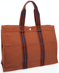 Hermes Brown & Navy Canvas Fourre Tout MM Tote Bag