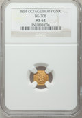 California Fractional Gold: , 1854 50C Liberty Octagonal 50 Cents, BG-308, R.4, MS62 NGC. NGCCensus: (7/2). PCGS Population (36/21). ...