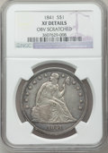 Seated Dollars, 1841 $1 -- Obverse Scratched -- NGC Details. XF. NGC Census:(13/178). PCGS Population (37/237). Mintage: 173,000. Numismed...