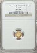 California Fractional Gold: , 1871 50C Liberty Octagonal 50 Cents, BG-912, R.3, MS63 NGC. NGCCensus: (9/7). PCGS Population (48/44). ...