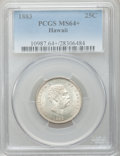 Coins of Hawaii: , 1883 25C Hawaii Quarter MS64+ PCGS. PCGS Population (329/267). NGCCensus: (218/280). Mintage: 500,000. ...
