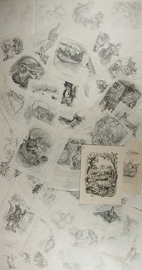 Garth Williams (1912-1996), illustrator. Large Lot of Seventy Original Preliminary Rough Sketches for Adventure