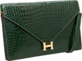Luxury Accessories:Bags, Hermes Shiny Vert Emeraude Porosus Crocodile Lydie Clutch Bag with Gold Hardware. ...