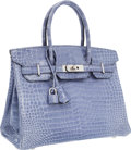 Luxury Accessories:Bags, Hermes 30cm Shiny Blue Brighton Porosus Crocodile Birkin Bag withPalladium Hardware. ...