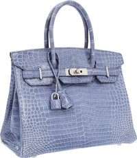 Hermes 30cm Shiny Blue Brighton Porosus Crocodile Birkin Bag with Palladium Hardware