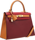 Luxury Accessories:Bags, Hermes 28cm Rouge H, Brick & Gold Calf Box Leather Sellier Kelly Bag with Gold Hardware. ...