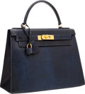 Luxury Accessories:Bags, Hermes 28cm Indigo Lizard Sellier Kelly Bag with Gold Hardware. ...