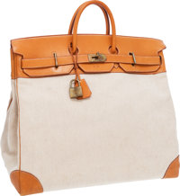 Hermes 50cm Vache Naturelle Leather & Toile HAC Travel Birkin Bag with Gold Hardware Good to Very Good Conditio