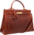 Luxury Accessories:Bags, Hermes 35cm Shiny Miel Alligator Retourne Kelly Bag with GoldHardware. ...