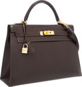 Luxury Accessories:Bags, Hermes 32cm Marron Fonce Calf Box Leather Sellier Kelly Bag withGold Hardware. ...