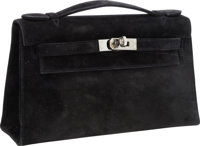 Hermes Black Veau Doblis Suede Kelly Pochette Clutch Bag with Ruthenium Hardware