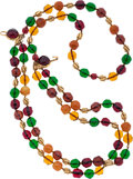 Luxury Accessories:Accessories, Chanel Gold Necklace with Green, Red & Orange Gripoix. ...
