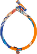Luxury Accessories:Accessories, Hermes Petit H Collection Orange & Blue Silk Bridle Necklace byChristian Astuguevielle. ...