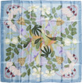 "Luxury Accessories:Accessories, Hermes Light Blue, Olive & Lilac ""Flora Graeca,"" by Niki Goulandris Silk Scarf. ..."