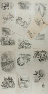 Garth Williams (1912-1996), illustrator. Lot of Fifteen Original Preliminary Rough Sketches for Adventures of B