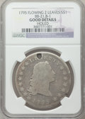 Early Dollars, 1795 $1 Flowing Hair, Two Leaves, B-1, BB-21, R.2 -- Holed -- NGCDetails. Good. PCGS Population (0/24)...