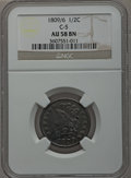 Half Cents, 1809/6 1/2 C 9 Over Inverted 9 AU58 NGC. C-5, B-5, R.1. NGC Census:(40/35). PCGS Population (16/26). Mintage: 1,154,572. N...