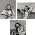 Movie/TV Memorabilia:Photos, A Marilyn Monroe Group of 'Farm Girl' Black and White Photographs by Andre de Dienes, 1945, 1980s.... (Total: 3 Items)
