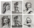 Movie/TV Memorabilia:Photos, A Marilyn Monroe Group of 'Smiling' Black and White Photographs byAndre de Dienes, 1945, 1980s.... (Total: 6 Items)