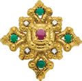 Estate Jewelry:Brooches - Pins, Ruby, Emerald, Diamond, Gold Brooch. ...