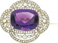 Estate Jewelry:Brooches - Pins, Edwardian Amethyst, Diamond, Platinum-Topped Gold Brooch. ...
