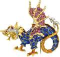 Estate Jewelry:Brooches - Pins, Ruby, Diamond, Enamel, Gold Brooch. ...