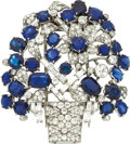 Estate Jewelry:Brooches - Pins, Diamond, Sapphire, Platinum Clip-Brooch. ...