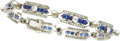 Estate Jewelry:Bracelets, Freshwater Cultured Pearl, Sapphire, Diamond, Platinum Bracelet,French. ...