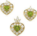 Estate Jewelry:Suites, Peridot, Diamond, Gold Jewelry Suite. ... (Total: 3 Pieces)