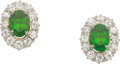 Estate Jewelry:Earrings, Demantoid Garnet, Diamond, Platinum-Topped Gold Earrings. ...