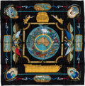 """Luxury Accessories:Accessories, Hermes Black, Gold & Teal """"Le Geographe,"""" by Sandra Laroche Silk Scarf. ..."""