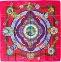 "Luxury Accessories:Accessories, Hermes Pink, Red & Blue ""La Ronde des Heures,"" by Loïc DubigeonSilk Scarf. ..."