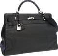 Luxury Accessories:Travel/Trunks, Hermes 50cm Black Clemence Leather Travel Kelly Bag with PalladiumHardware. ...