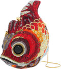 Luxury Accessories:Bags, Judith Leiber Full Bead Red & Gold Crystal Koi Fish MinaudiereEvening Bag. ...