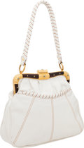 Luxury Accessories:Bags, Valentino White Leather Top Handle Bag with Gold & Wood Frame....