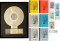 "Music Memorabilia:Awards, Metallica RIAA Gold Record Award for ""...And Justice for All.""...(Total: 20 Items)"