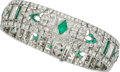 Estate Jewelry:Bracelets, Art Deco Emerald, Diamond, Platinum Bracelet. ...