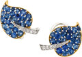 Estate Jewelry:Earrings, Sapphire, Diamond, Platinum, Gold Earrings, Van Cleef & Arpels. ...
